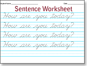 sentence cursive worksheet practice. Black Bedroom Furniture Sets. Home Design Ideas
