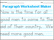 Printables Make Tracing Worksheets amazing handwriting worksheet maker just type in sentences as you would a word processor and watch the paragraph appear before
